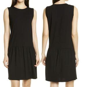 Eileen Fisher dropped waist sleeveless dress black